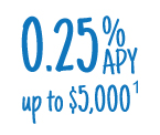 0.25%25 APY up to $5,000